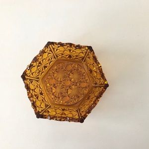 Vintage Amber Glass Trinket Dish